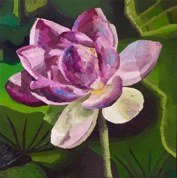 Nelumbo Lotus, oil on canvas, Elisabeth Howlett