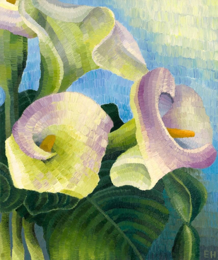 Arum Lillies, oil on canvas board, Elisabeth Howlett, 2014. Original painting 10 x 12 inches / 25.5 cm x 30.5 cm.