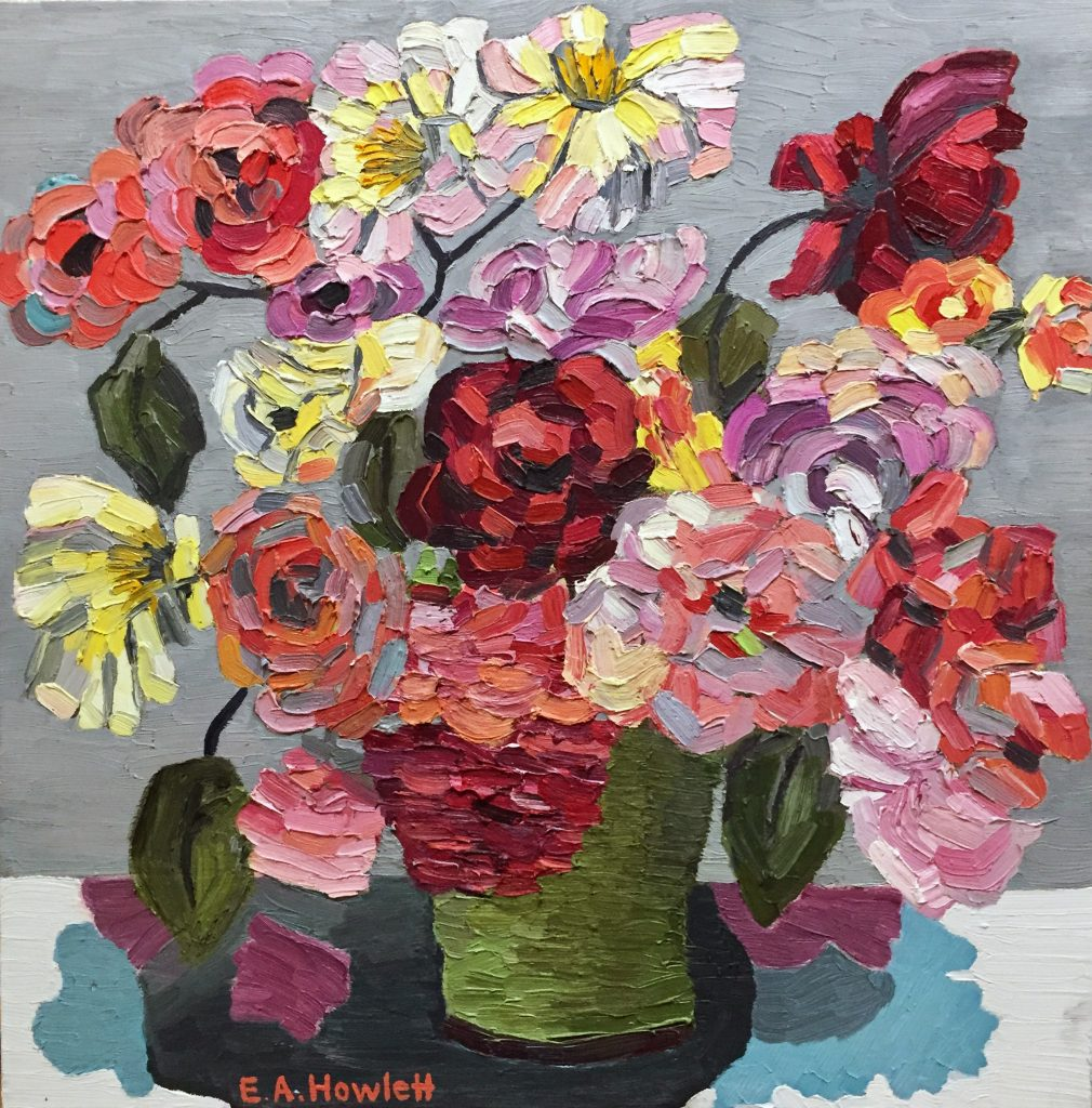 Retro Roses, oil on canvas, 76 x 76 cm, unframed, ready to hang, $780