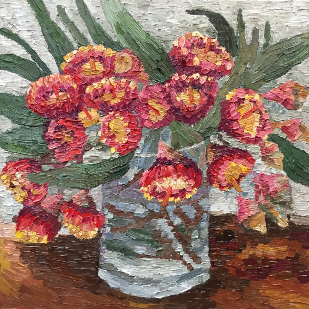 Avenue Gum Blossom, oil on canvas board, 30 x 30 cm, framed in Tasmanian Oak, $425