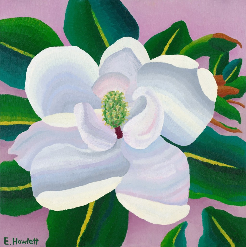 "Magnolia, oil on canvas board, Elisabeth Howlett, 2008. Original Painting: 28 x 28"" / 71 x 71 cm."