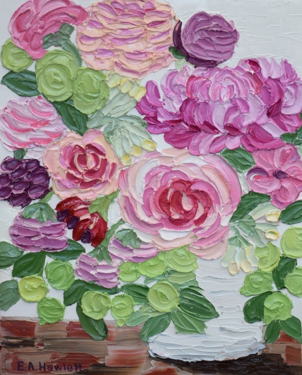 Spring Pinks, oil on canvas, Elisabeth Howlett