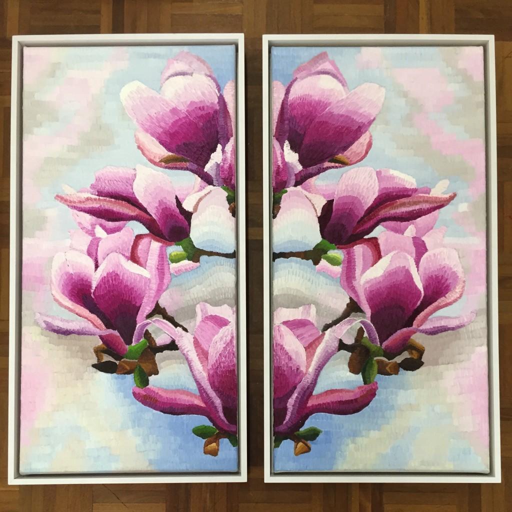 "Reflections on Magnolia (Diptych), oil on canvas, Elisabeth Howlett, 2015. Each canvas panel 15 x 30"" / 38 x 76 cm"