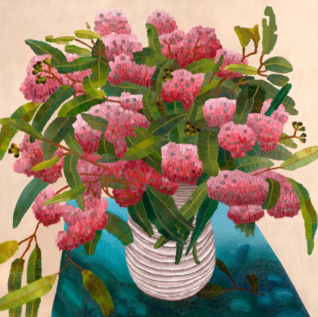 "Goolwa Gum Blossom, oil on canvas, Elisabeth Howlett, 2015. Size of Original 40 x 40"" / 101 x 101 cm"