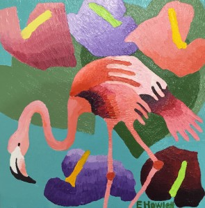 Flamingo No#1 with Anthurium, acrylic on canvas, 12 x 12 inches / 30.5 x 30.5 cm
