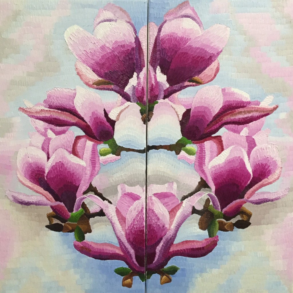 Reflections on Magnolia (Diptych), oil on canvas, Elisabeth Howlett, 2015. Each canvas panel 15 x 30″ / 38 x 76 cm